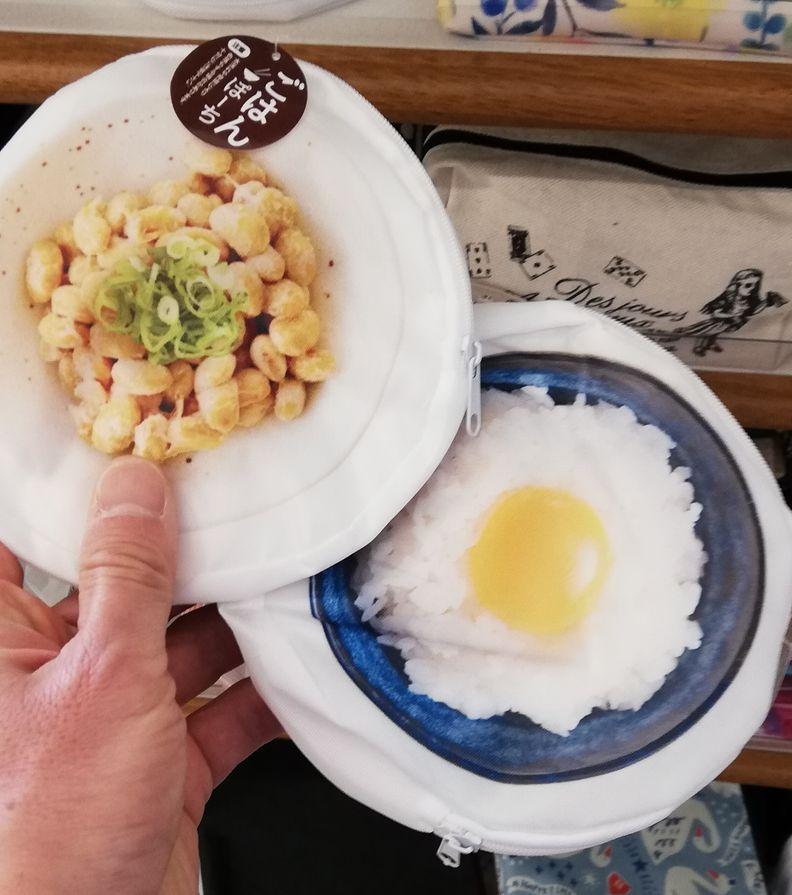 100円ショップで買った転写ご飯納豆ポーチがお気に入り♪