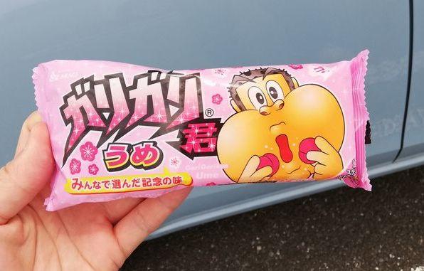 ガリガリ君の梅味を食べてみました(ベイシア41円)